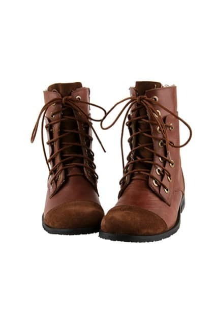 Lace Up Brown Biker Boots