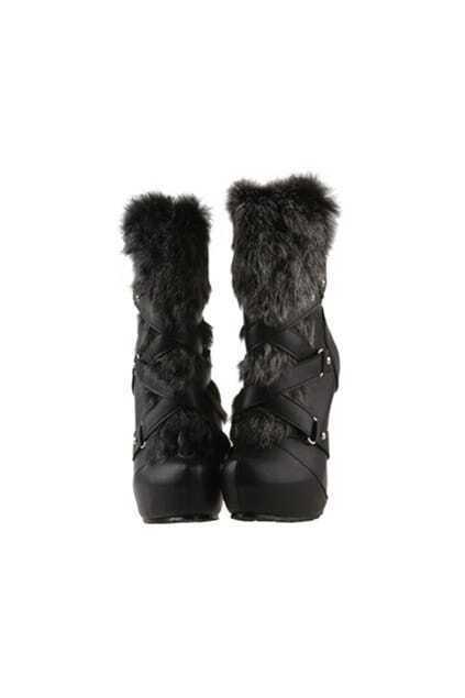 Faux Fur Black Heeled Boots
