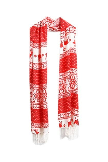Christmas Styling Tassel Red and White Scarf