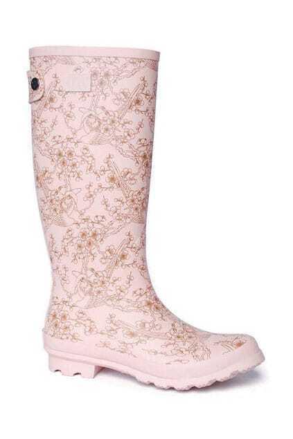 Birds Print Pink Rain Boots