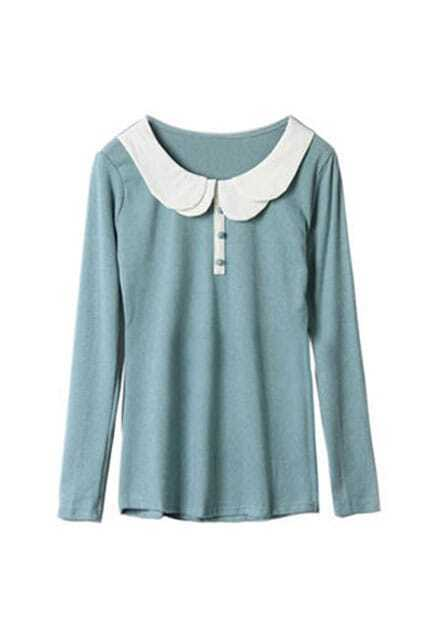 Multilayer Collar Green Bottoming Shirt