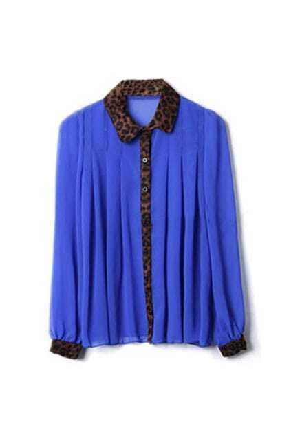 Montage Leopard Print Blue Shirt