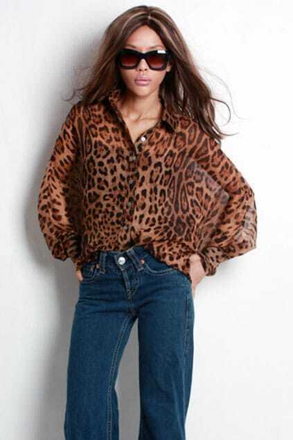 Leopard LanternSleeves Silk Shirt