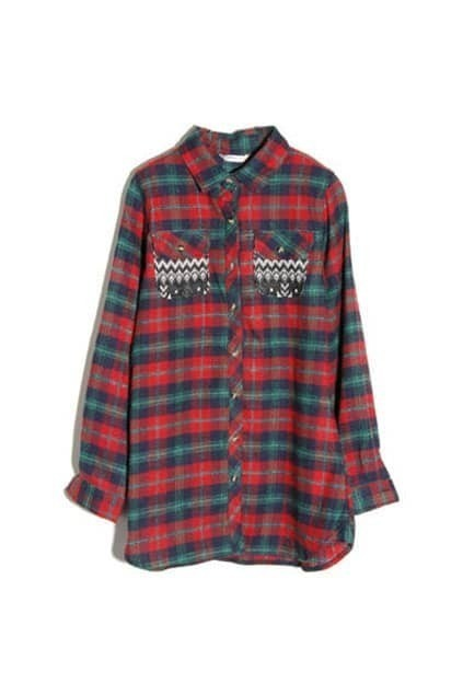 Red and green check shirtfor women romwe for Red and green checked shirt