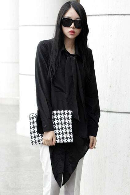 Asymmetric Bowknot Black Shirt