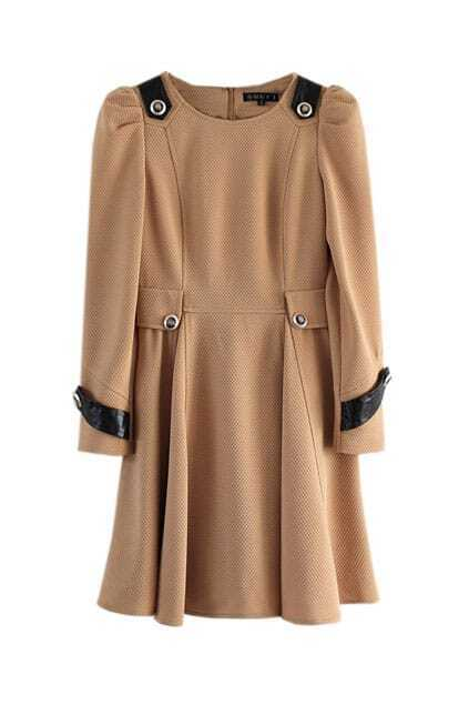 Big Lower Hem Camel Dress