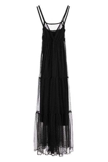 Lace Twin Set Black Strap Dress