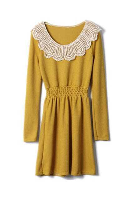 Lace Neck Yellow Shift Dress