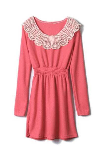 Lace Neck Pink Shift Dress