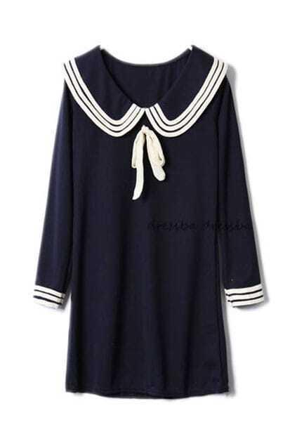 Middy Collar Dark Blue Shift Dress