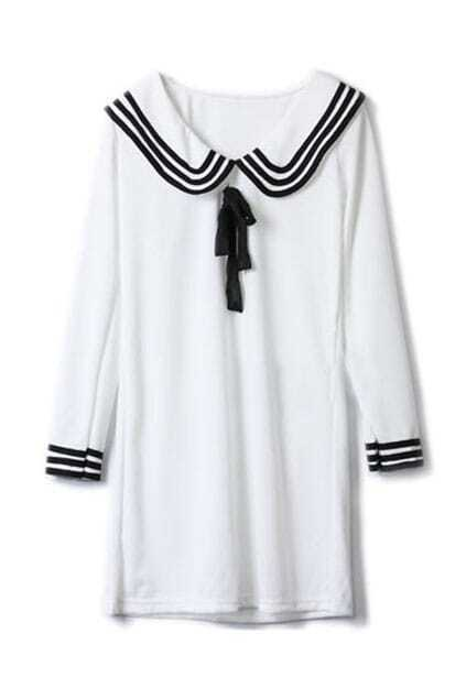 Middy Collar White Shift Dress