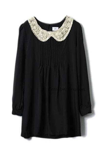 Retro Paillette Collar Black Dress