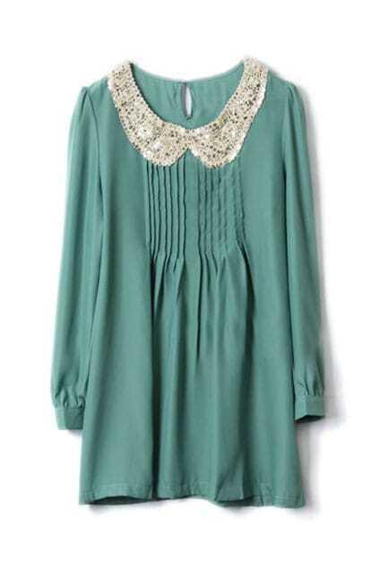 Retro Paillette Collar Green Dress