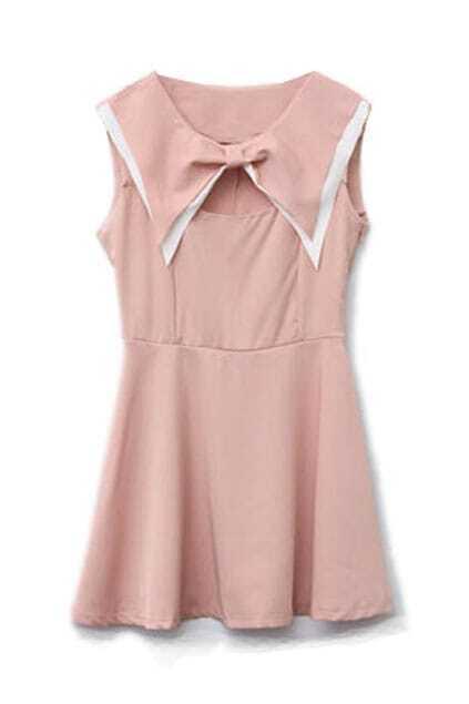 Controlled Waist Bowknot Neckline Pink Dress