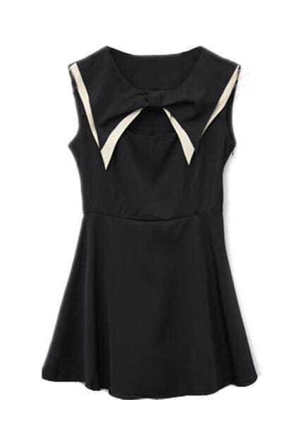 Controlled Waist Bowknot Neckline Black Dress