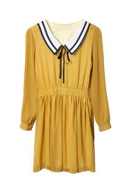Middy Collar Yellow Chiffon Dress