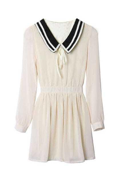 Middy Collar Apricot Chiffon Dress