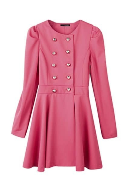 Puff Sleeves Rose Pink Trench Coat