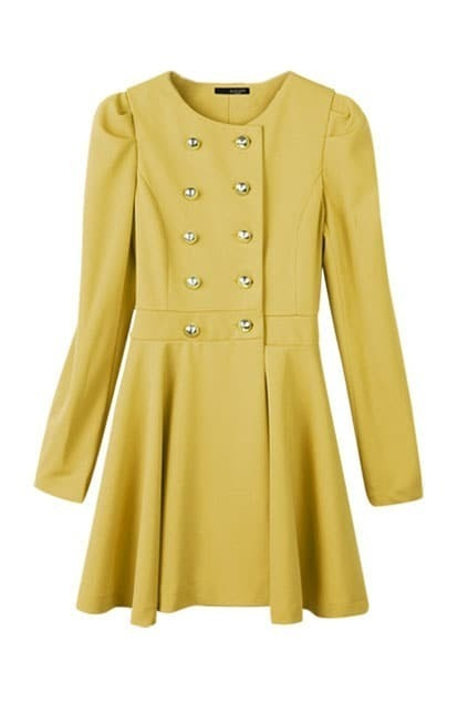 Puff Sleeves Rose Yellow Trench Coat