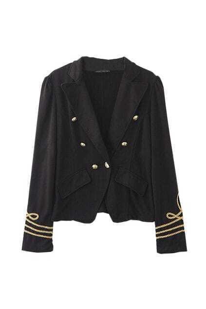 Navy Style Buttons Black Blazer