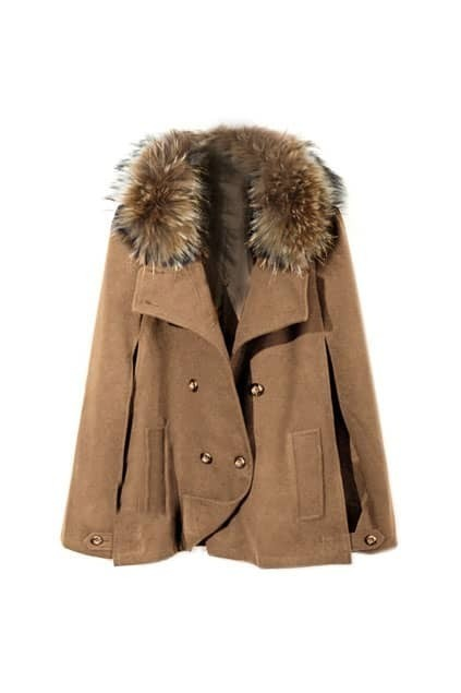 Shearling Camel Cape Style Outerwear