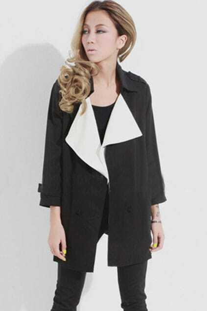 Lapel Neck Contrast Color Black Trench Coat