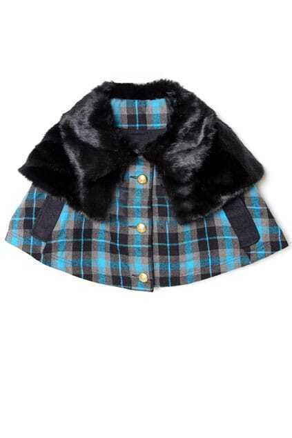 Blue Check Imitated Mink Hair Cape