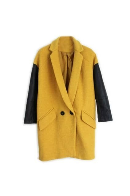 Splicing PU Woolen Yellow Coat