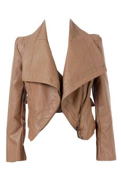 Lapel PU Light Khaki Biker Jacket