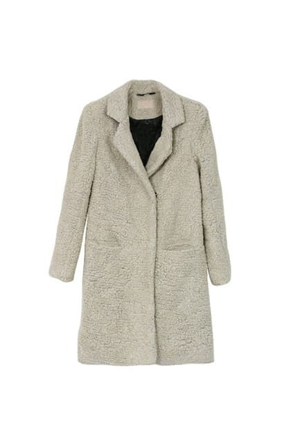 Feminine Wool Cream-grey Overcoat