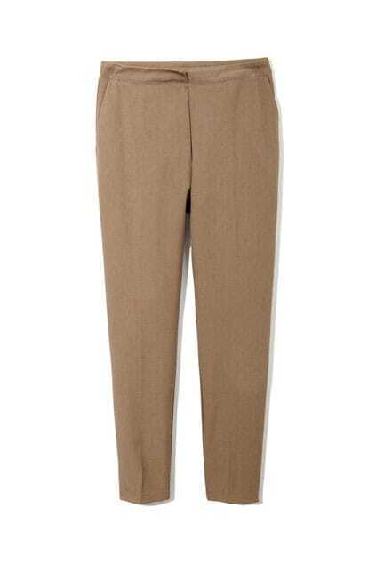 Chic Style Ankle Length Coffee Pants