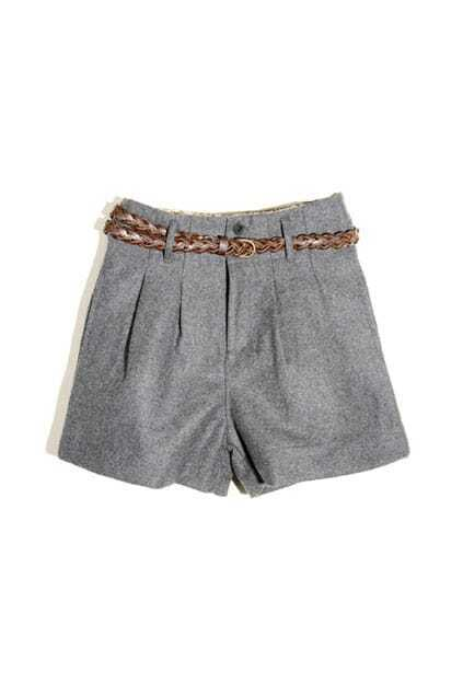 Pleating Tailored Grey Shorts