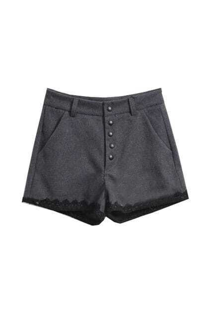 Mediun Waist Lace Hemed Grey Shorts