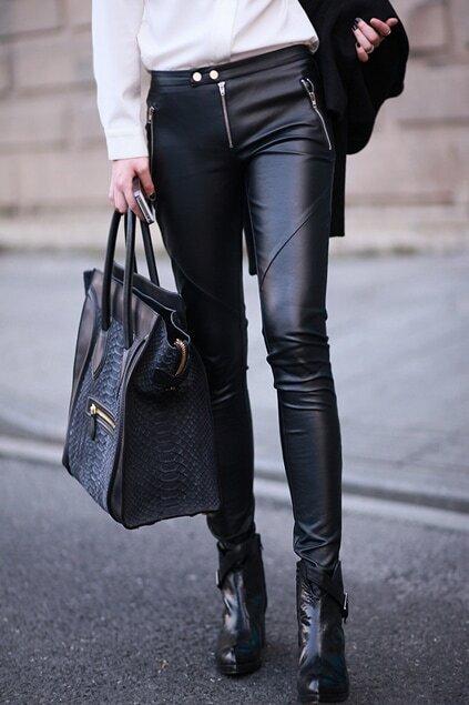 Zip Detailed Black Pants