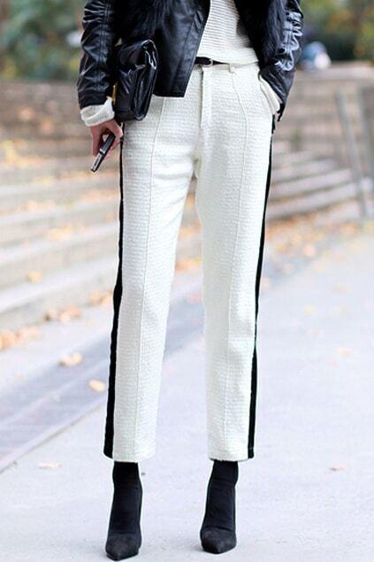 Color Block Slim White Pants