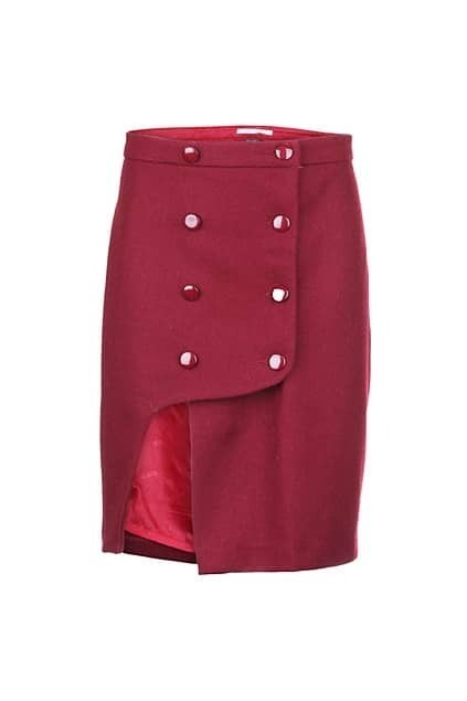 Double Breasted Button Red Skirt