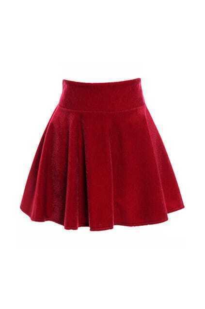 Classic High Waist Red Skirt