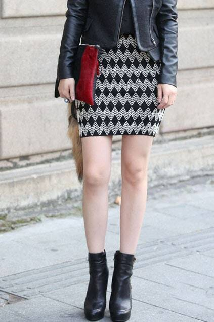 Waved Pattern Knitted Skirt