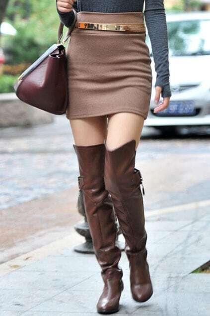 Retro Camel High Waist Skirt