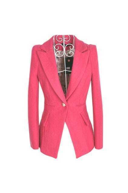 Candy Color Slim Red Blazer