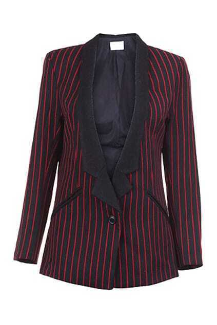 Shawl Collar Red Striped Blazer