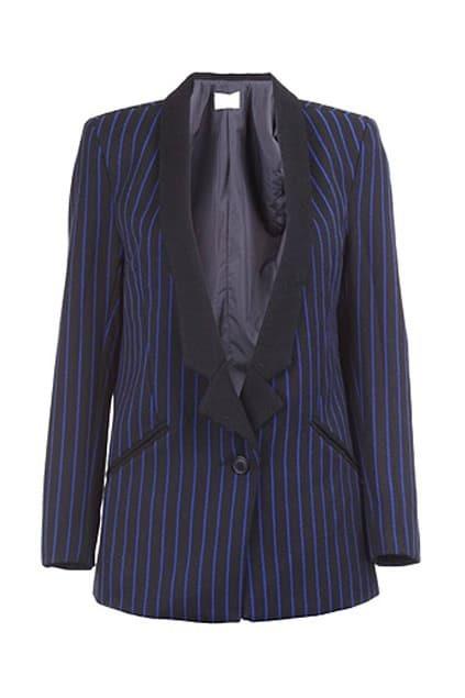 Shawl Collar Blue Striped Blazer