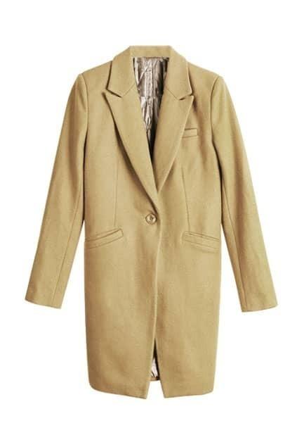 Long Line Padded Camel Coat