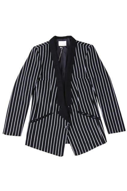 Stripe One Button Black Blazer