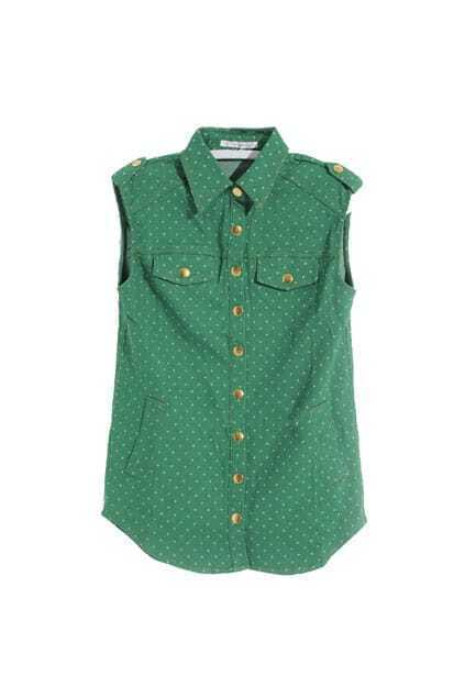 Retro Lapel Neck Star Green Vest