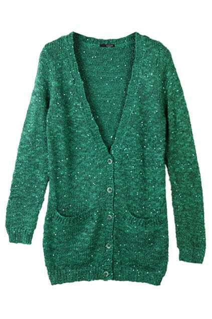 Knitted Paillette Green Cardigan