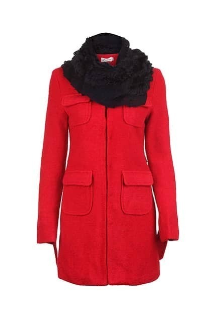 Feminine Scraf Attached Red Coat