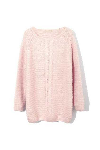 Medium Style Twist Knit Pink Jumpers