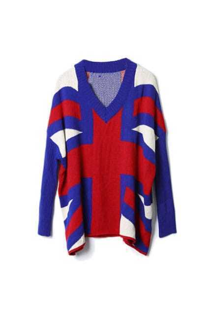 Batwing Sleeves Union Jack Blue Jumper