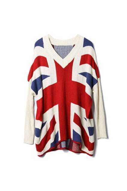Batwing Sleeves Union Jack White Jumper